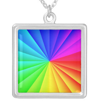 Rainbow Burst Square Necklace