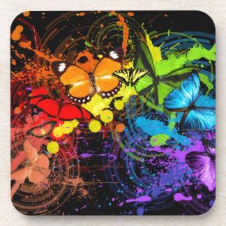 Rainbow butterflies coasters
