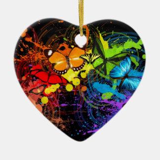 Rainbow butterflies ceramic heart decoration