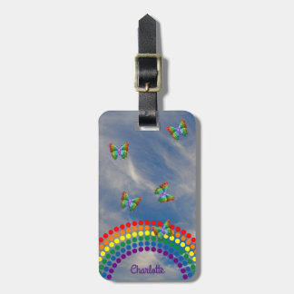 Rainbow Butterflies Sky | Girly Personalized Luggage Tag