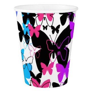 Rainbow Butterfly Abstract Multicolored Teen Girl Paper Cup