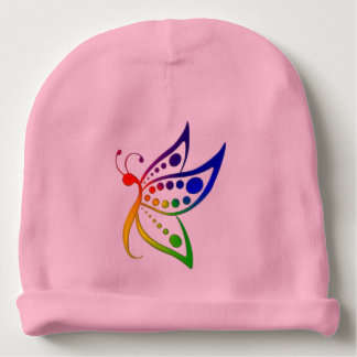 Rainbow Butterfly Dots Baby Beanie