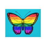 Rainbow Butterfly Gay Pride Flag Stretched Canvas Prints