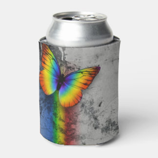 Rainbow Butterfly Gray Black Pattern Print Can Cooler