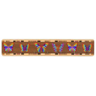 Rainbow Butterfly Key Rack Walnut Key Rack