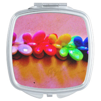 Rainbow Butterfly Necklace Travel Mirror