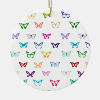 Rainbow butterfly pattern round ceramic decoration