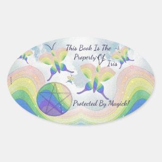 Rainbow  Butterfly Pentacle Bookplate Oval Sticker
