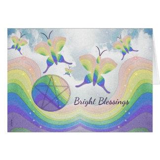 Rainbow  Butterfly Pentacle Card