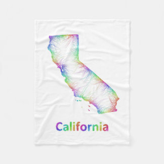 Rainbow California map Fleece Blanket