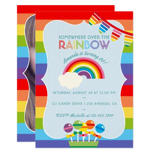 Rainbow Candy Birthday Party add photo invitation