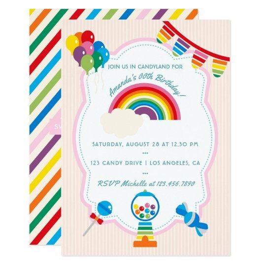 Rainbow Candy Birthday Party invitation