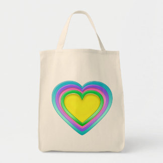 Rainbow Candy Heart Organic Grocery Tote Bag