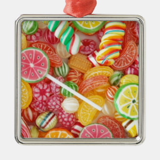 Rainbow candy Silver-Colored square decoration