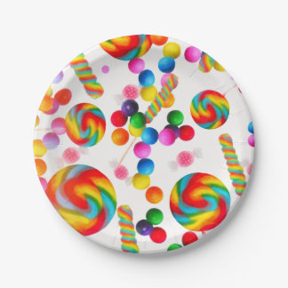 Rainbow Candy Sweet Birthday Party Candyland Paper Plate