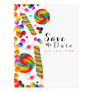 Rainbow Candy Sweet Birthday Party Save the Date Postcard