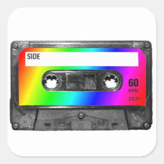Rainbow Cassette Tape Square Sticker