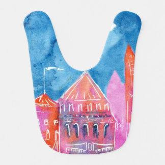 Rainbow castle fantasy watercolor illustration bib
