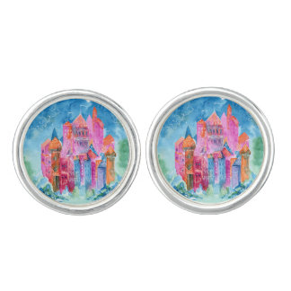 Rainbow castle fantasy watercolor illustration cuff links