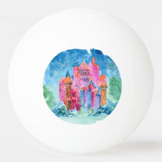 Rainbow castle fantasy watercolor illustration ping pong ball