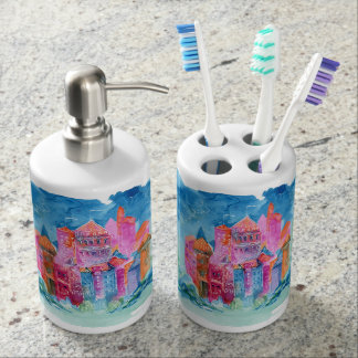 Rainbow castle fantasy watercolor illustration toothbrush holders