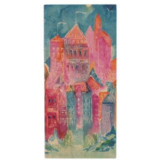Rainbow castle fantasy watercolor illustration wood USB 2.0 flash drive
