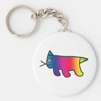 Rainbow Cat Basic Round Button Key Ring