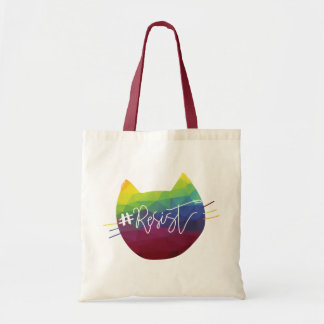 Rainbow Cat Calligraphy #Resist Tote