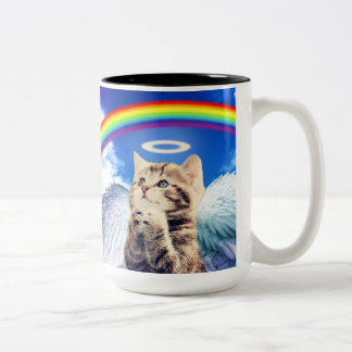 rainbow cat - cat praying - cat - cute cats Two-Tone coffee mug