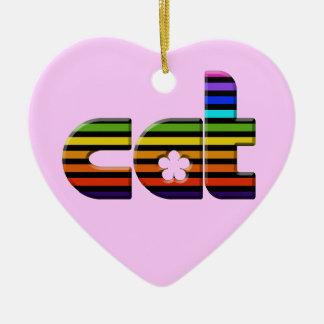 rainbow cat ceramic heart decoration