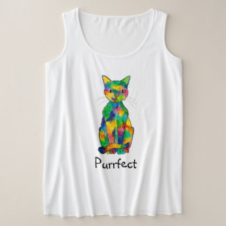 Rainbow Cat Purrfect Plus Size Tank Top