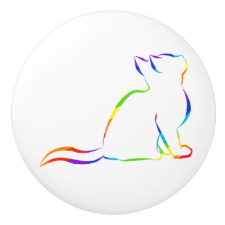 Rainbow cat silhouette ceramic knob
