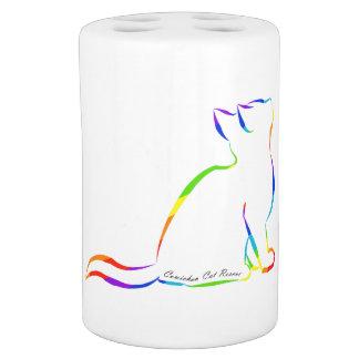 Rainbow cat silhouette, inside text bathroom set