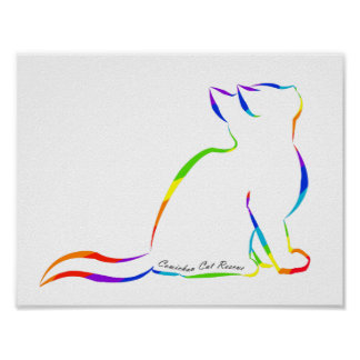 Rainbow cat silhouette, inside text poster