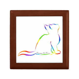 Rainbow cat silhouette, inside text small square gift box