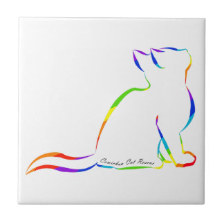 Rainbow cat silhouette, inside text tile