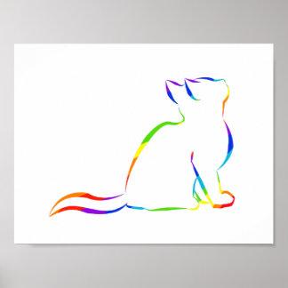 Rainbow cat silhouette poster