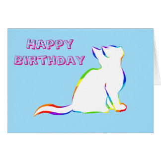 Rainbow cat, white fill card