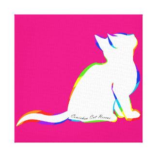 Rainbow cat, white fill, inside text canvas print