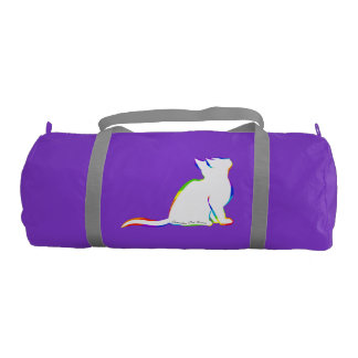 Rainbow cat, white fill, inside text gym bag