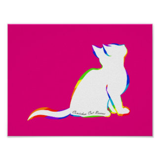 Rainbow cat, white fill, inside text poster