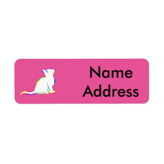 Rainbow cat, white fill, inside text return address label