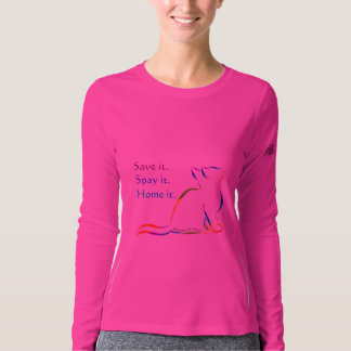 Rainbow cat, white fill, inside text - Save, spay T-Shirt