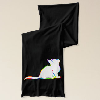 Rainbow cat, white fill, inside text scarf
