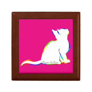 Rainbow cat, white fill, inside text small square gift box