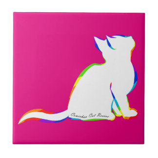 Rainbow cat, white fill, inside text tile