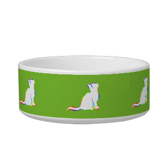 Rainbow cat, white fill pet food bowl