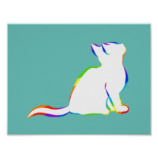 Rainbow cat, white fill poster