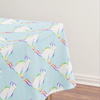 Rainbow cat, white fill tablecloth