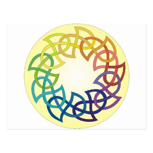Rainbow Celtic Knot Postcard